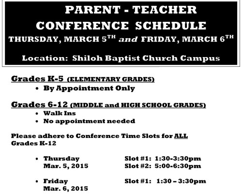 Parent-Teacher Conference Schedule - Thursday, march 5th and Friday, march 6th