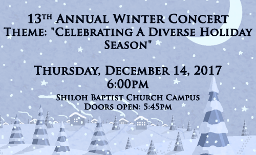 13th Annual Winter Concert, Thursday December 14th at 6:00pm